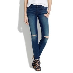 Madewell mid rise skinny jeans. Destructed edition